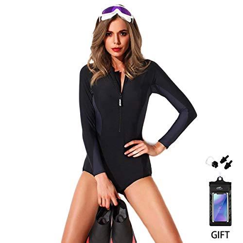 Frauen Einteiler Badeanzug FOCLASSY Monokini Bikini Reißverschluss Vorne Bademode Kurzarm Plus Größe Schwarz Push Up Swim Suit (BLACK, M) -