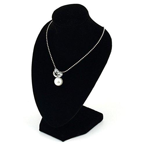 Display08busto espositore nero per collane con pendenti