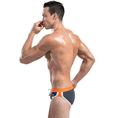 Lantra Besa Herren Badehose Slips Bikini Bottom für Sommer Schwimmen mit Elasthan Eng Kurz Elastisch Strand Bekleidung Typ 7 Grau