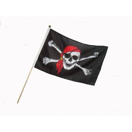BestSaller 1525 Piraten Fahne / Flagge 46x30cm mit Holzstab, mit Totenkopf, schwarz (1 Stück)