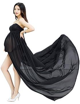 Maternidad Chiffon Fotografía Apoyos Vestido largo Split Vista delantera mujeres embarazadas con ropa interior...