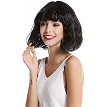 WIG ME UP ® - 90793-ZA103 Peluca mujer Halloween Carnaval bob corto liso flequillo negro