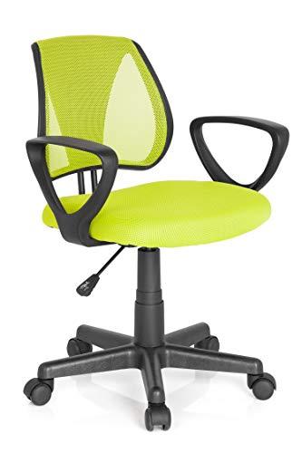 hjh OFFICE 725108 Kinder- und Jugenddrehstuhl KIDDY CD Netzstoff Grün Schreibtischstuhl mit Armlehne höhenverstellbar - Ohne Weiß Stuhl Schreibtisch Armlehnen