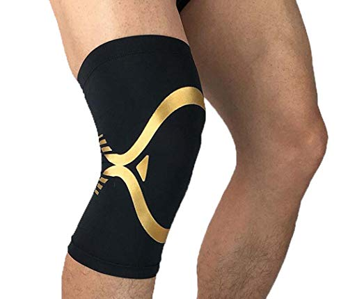 MISS&YG Knie-Support-Premium Compression Knee Sleeve-Kniebuss Patella Stabilisator für Meniscus Tear-Arthritis Pain-Best for Running-Crossfit-Sport,BlackGold,XL