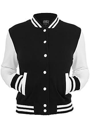 Urban Classics Ladies 2-Tone College Sweatjacket in 6 Farben, Größe:XS;Farbe:blk/wht