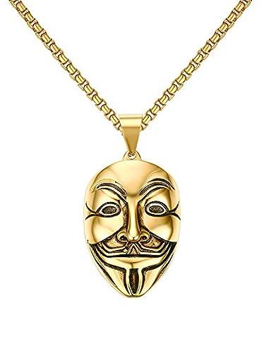 Vnox Edelstahl V für Vendetta Schablonen hängende Halsketten Gold,freie Kette