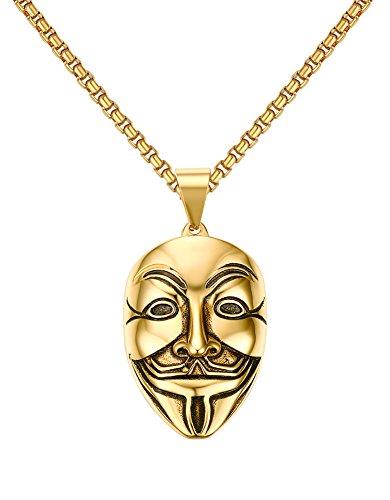 Vnox Acciaio Inox V per Vendetta maschera d'oro della collana del pendente,la catena libera