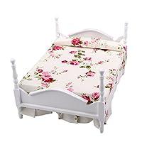 1/12 Scale Dollhouse Miniature Furniture Floral Princess Bed