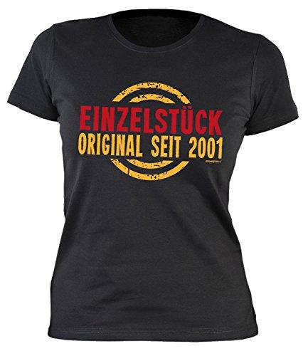 Sexy Mädchen Damen T-Shirt zum 16. Geburtstag Einzelstück Original seit 2001 cooles Geschenk zum 16 Geburtstag Freundin Schwester 16 Jahre Schwarz