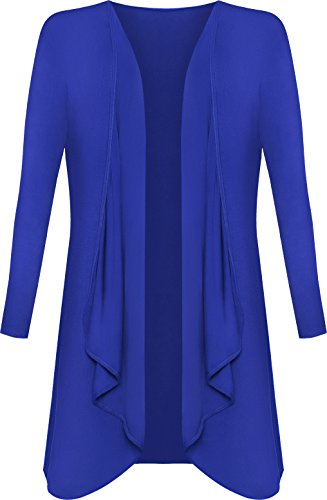 WearAll - Damen Übergröße Lange Wasserfall Cardigan Top - Königsblau - 48-50