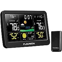 FLOUREON Station Météo Thermomètre sans Fil Détecteur d'Intérieur/d'Extérieur pour Prévisions Météo Réveil