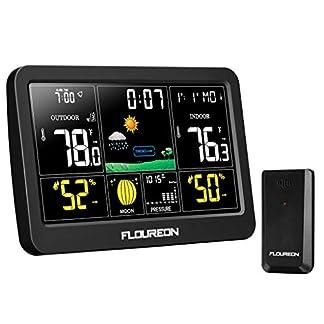 FLOUREON Estación Meteorológica Inalámbrica con Sensor para Exterior Interior Higrómetro Digital Alarma Reloj con Pantalla Táctil Monitor de Temperatura y Humedad Negro