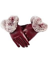 QHGstore 1 par de guantes para mujer de cuero de imitación Otoño Invierno Cálido mitones de piel de conejo vino rojo