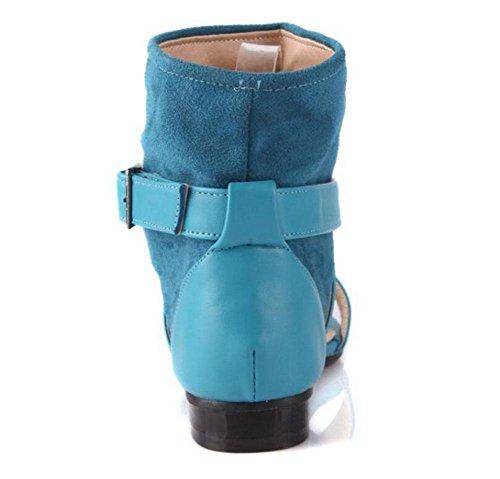Donne Sandali Belt Buckle caricamenti del sistema freddi pompe pelle scamosciata del sandalo degli alti talloni del sandalo romano Scarpette Blue
