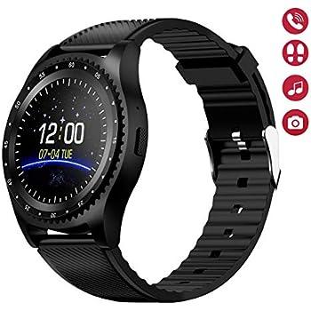 Smartwatch Reloj Inteligente Teléfono,Ranura para Tarjeta SIM TF, Pantalla Táctil Texto Cámara Música, SNS Notification Sync,Compatible con Android ...
