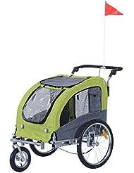 PawHut Remolque Bicicleta Perros Carro Cochecito para Transporte Mascota 2 en 1 con Barra de Paseo