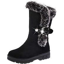 Keptei Femmes Hiver Bottes de Neige Velours Longues Bottes Chaudes Tube Bottes  Hautes Chaussures Plat Talon 04a41f8cd92a