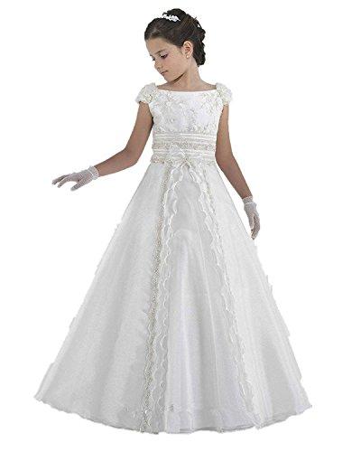 Lilis Mädchen Blumenmädchen Kleid Weiß Kinder Erstkommunion Kleid Lange kleider