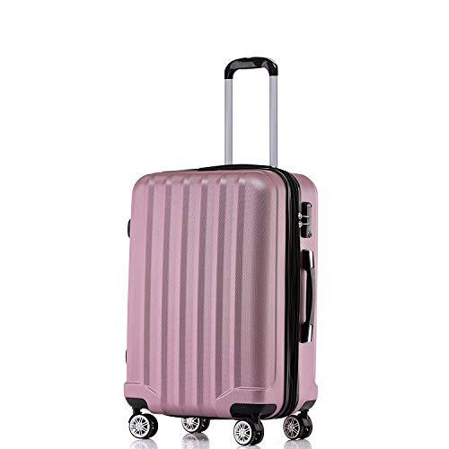 BEIBYE TSA-Schloß 2080 Hangepäck Zwillingsrollen neu Reisekoffer Koffer Trolley Hartschale Set-XL-L-M(Boardcase) (Rosa, XL)