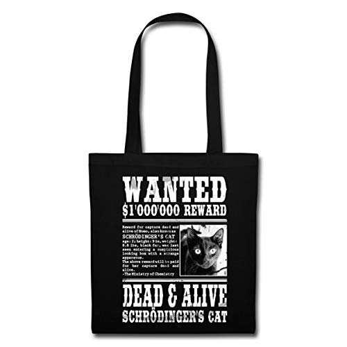 Spreadshirt Chat De Schrödinger Wanted Dead And Alive Tote Bag