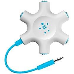 Belkin - Répartiteur audio pour smartphone/MP3/tablette tactile - 5 x jack 3,5 mm - Bleu