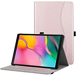 FINTIE Coque pour Samsung Galaxy Tab A 10.1 T510 / T515 2019 - Folio Stand Multi Angles Etui Housse de Protection avec Pochette de Document pour Samsung Galaxy Tab A 10.1 2019, Or Rose
