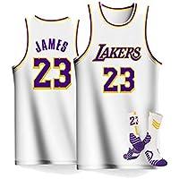 HDJX Chicos y Chicas Uniformes de Baloncesto, Los Angeles Lakers, 23, Lebron James, Transpirable Bordado Baloncesto Swingman Jersey White-XXL