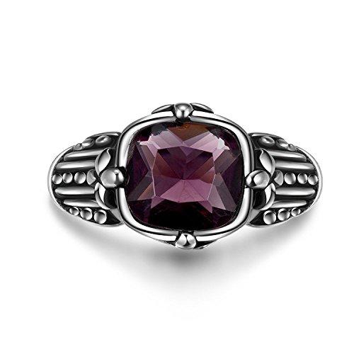 Lureme® acero inoxidable de la vendimia antigua maya motorista retro estilo gótico punk con piedra púrpura plata anillo ancho de banda negro para los hombres (04001228)