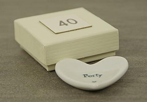 Cadeau d'anniversaire 40e–Plat cœur en porcelaine par East of India