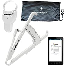 FastBodyFit grasa corporal Tenazas para cuerpo Porcentaje de grasa Medir. Premium acabado. Fácil de usar. con software y vídeo de instrucciones. Negro