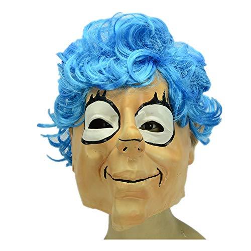 Latex Maske Halloween Make-Up Dekorative Produkte Accessoires Blaue Und Weiße Augen. Maske