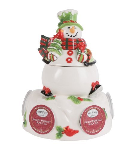 Fitz and Floyd Serveware Holly Hat Snowman Pod Pal with Sugar Pot by Fitz and Floyd Floyd Serveware