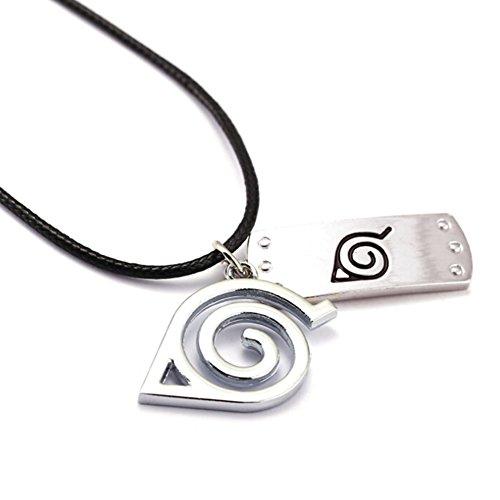 (Yovvin Naruto Halskette mit Konohagakure Stirnplatten Anhängern, Naruto Shippuden Cosplay Halskette, Tsunade Halskette, Beste Geschenk für Naruto Anime-Fans)