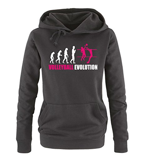Comedy Shirts - Volleyball Evolution - Damen Hoodie - Schwarz/Weiss-Pink Gr. M