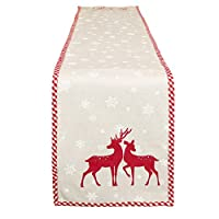 Long Festive Gingham Edge Table Runner with Snowflake and Red Reindeer Design