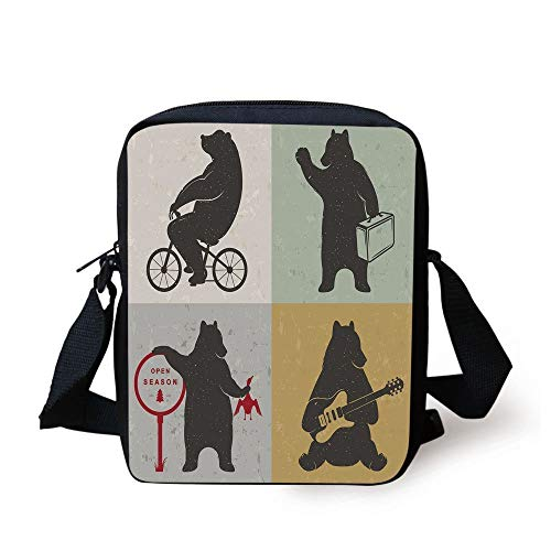 Bear,Funny Frames in Drawing Style Mascot Hunter Biker Musician Travelling Grunge Display Decorative,Multicolor Print Kids Crossbody Messenger Bag Purse -