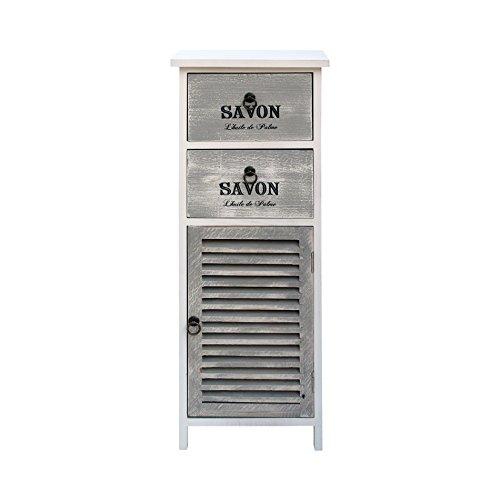 Mobili rebecca cassettiera comodino bianco grigio 1 anta 2 cassetti legno design vintage shabby bagno soggiorno (cod. re6090)
