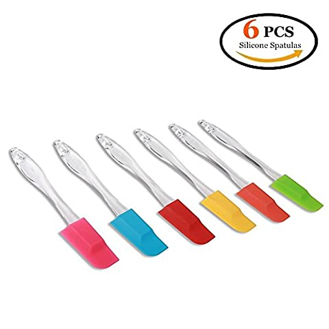 CECIINION Silicone Baking Spatulas - 7 Inch (Set of 6) Spoon Style Dishwasher Safe Durable Jar Icing Scraper Butter Mixer Utensil Kitchen Cooking Gadget and Bakeware Perfect Tool for Cake Decorating …
