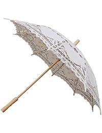 Hecho a Mano de Encaje de la Boda Nupcial sombrilla Paraguas de algodón Decoracion
