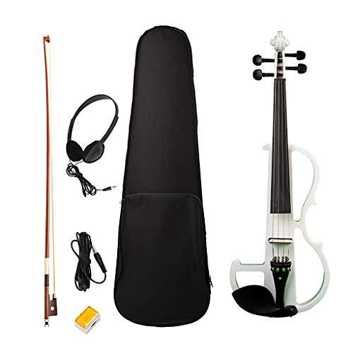 Sharplace Solido Squisito Legno 4/4 Violino Elettrico Con Archetto Per Archetto - Bianca