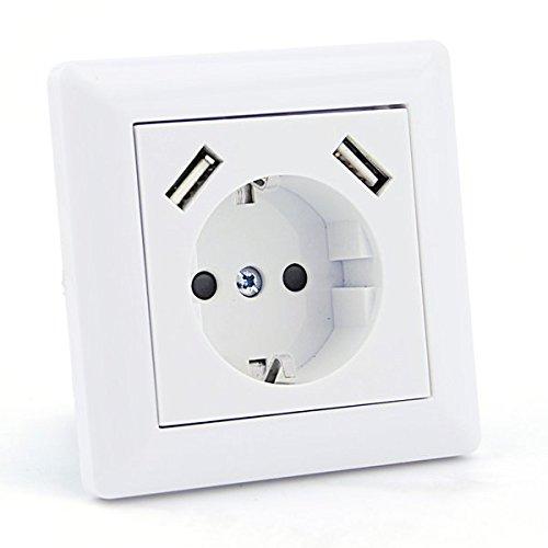 UMOI iUSB Einzelsteckdose USB Steckdose, iUSB Wandsteckdose Unterputz mit 4 x USB-Port | 4200mA Ausgangsstorm (USB) | 220V / 230V / 240V / 250V | integrierte Kindersicherung … (Einzelsteckdose)