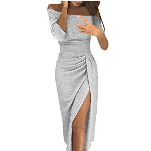 086866c94681 Ginli Vestito Donna Elegante Abito Donna off Spalla Alta Fessura Bodycon  Vestiti Maniche Lunghe Abiti Chiffon