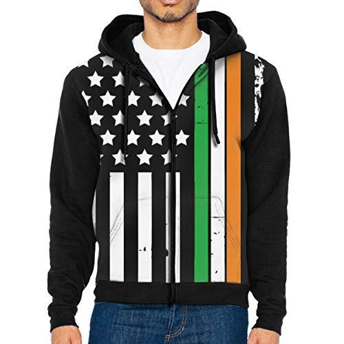 c2d07c62de American Irish Flag Shirt St. Patricks Men's Full-Zip Hoodie Jacket  Sweatshirt XL