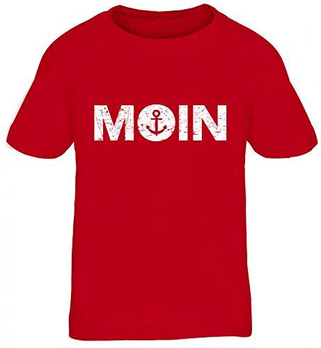 Geschenkidee Küsten Hamburg Plattdeutsch Norddeutsch Norden Kids Kinder T-Shirt Moin Anker, Größe: 134/146,Rot
