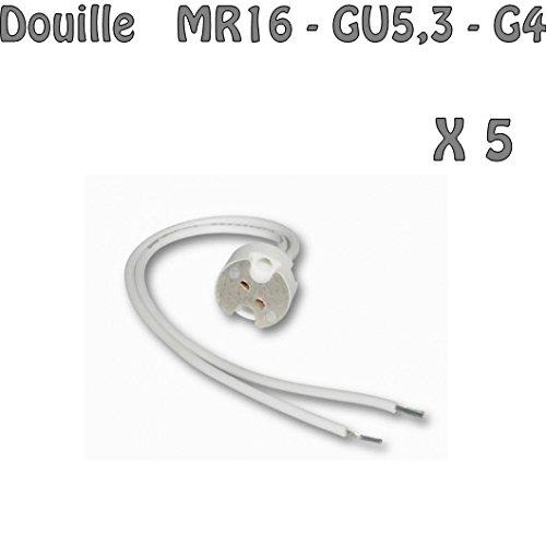 Lot de 5 Douilles GU5.3 / MR16 pour Ampoule halogène où LED