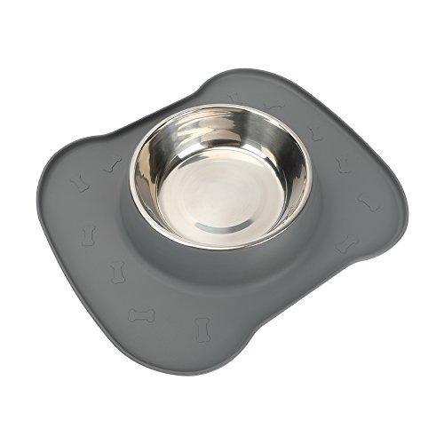 Sicherer Haustier Behälter aus Silikon, die sich fuer Haustiere eignen, behälter eine rutschfeste Anti-Überlauf-Silikonkissen und 1 Schalen aus Edelstahl.
