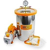 BACOENG 19L Vakuumkammer mit 85L/Min Einstufige Vakuumpumpe Unterdruckpumpe mit Manometer HVAC