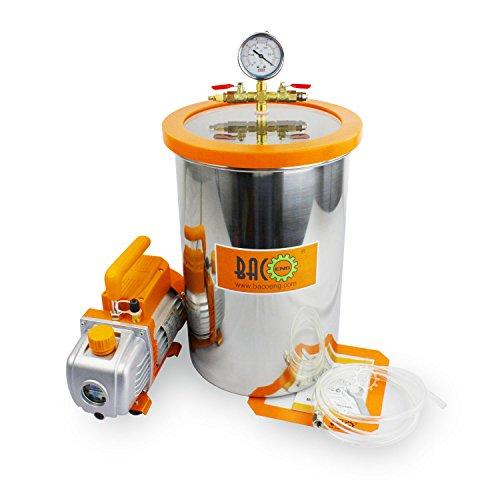 BACOENG 19L Vakuumkammer mit 85L/Min Einstufige Vakuumpumpe Unterdruckpumpe mit Manometer HVAC - 50 Cfm Lüfter Motor