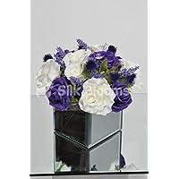 Artificiale viola e bianco rose Table Arrangement con specchio cubo e (Bloom Specchio)