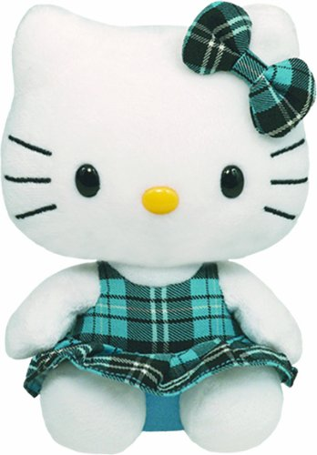 Hello Kitty - Tartan Skirt Blue/Green Plush - TY Beanie - 15cm 6""